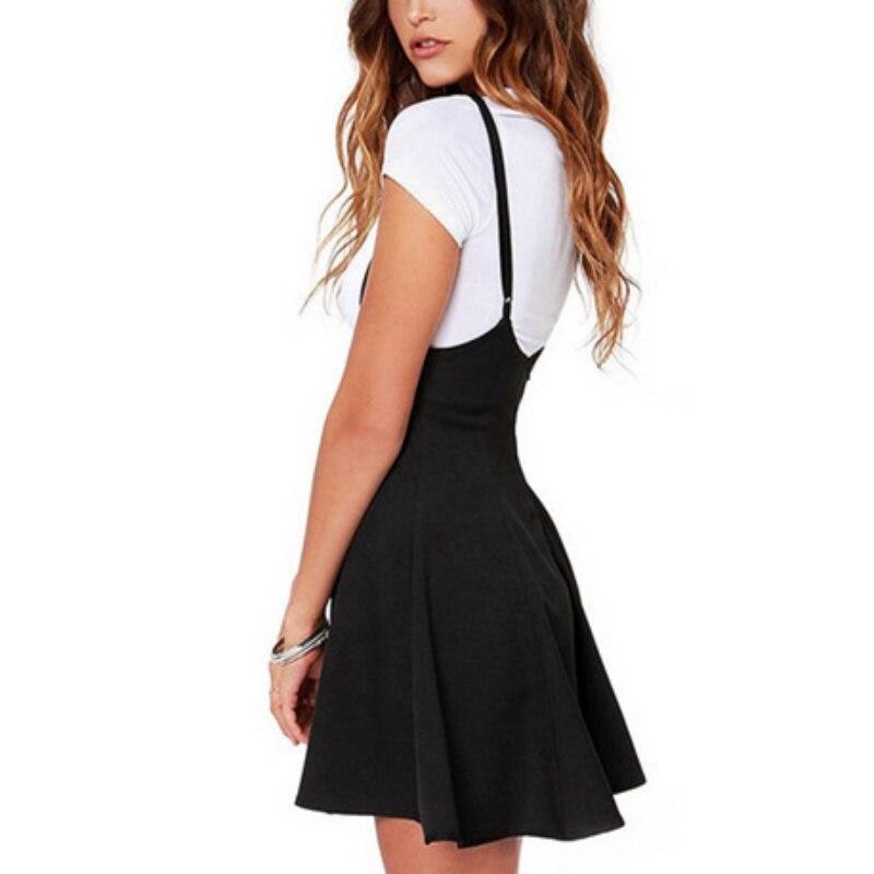 Women Black Skirt with Shoulder Straps Pleated Skirt Suspender Skirts Patchwork Color Female Cozy High Waist Mini School Skirts 3