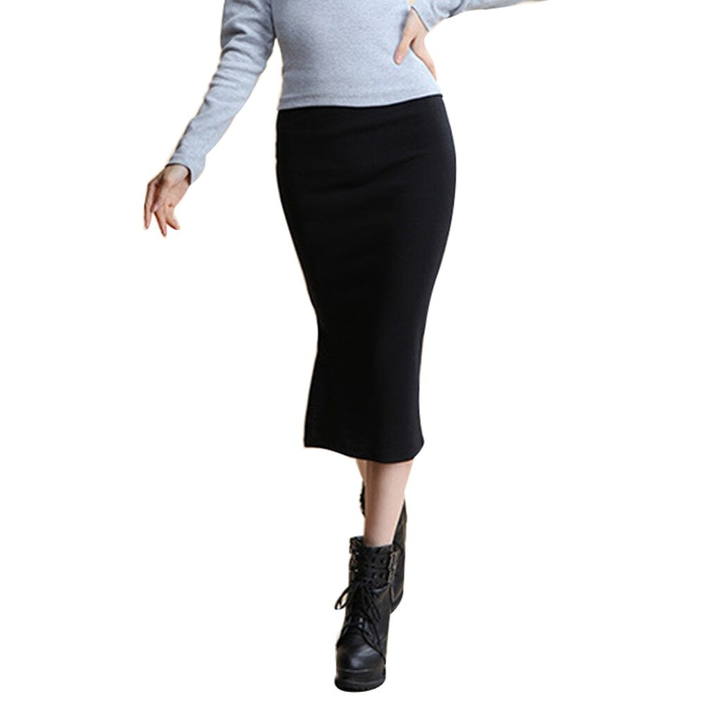 Danjeaner 17 Autumn Winter Women Slim Split Long Skirts High Waist Knitted Cotton Pencil Skirts Super Elastic Maxi Skirts