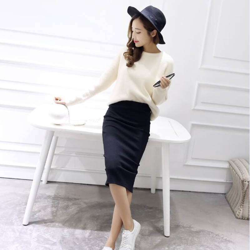 16 Summer skirts Sexy Chic Pencil Skirts Women Skirt Wool Rib Knit Long Skirt Package Hip Split Waist midi skirt maxi A919 3