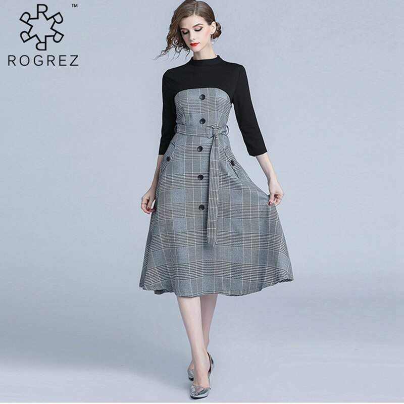 ROGREZ Grey Autumn Winter Casual Women Elegant Dress O Neck Half Sleeve Slash Slim Vestidos Office Long Dresses 2