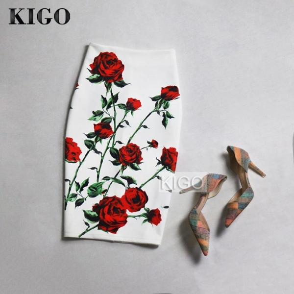 KIGO European and American Style Summer Print Midi Skirt High Waist Bodycon Skirt Sexy Ladies Slim Pencil Skirt Falda Saia K50