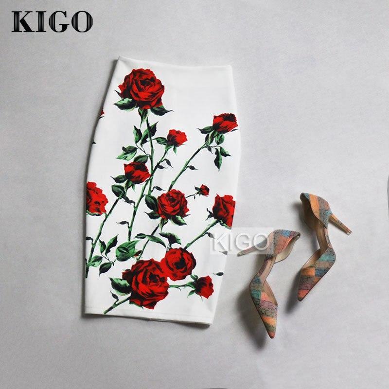 KIGO European and American Style Summer Print Midi Skirt High Waist Bodycon Skirt Sexy Ladies Slim Pencil Skirt Falda Saia K50