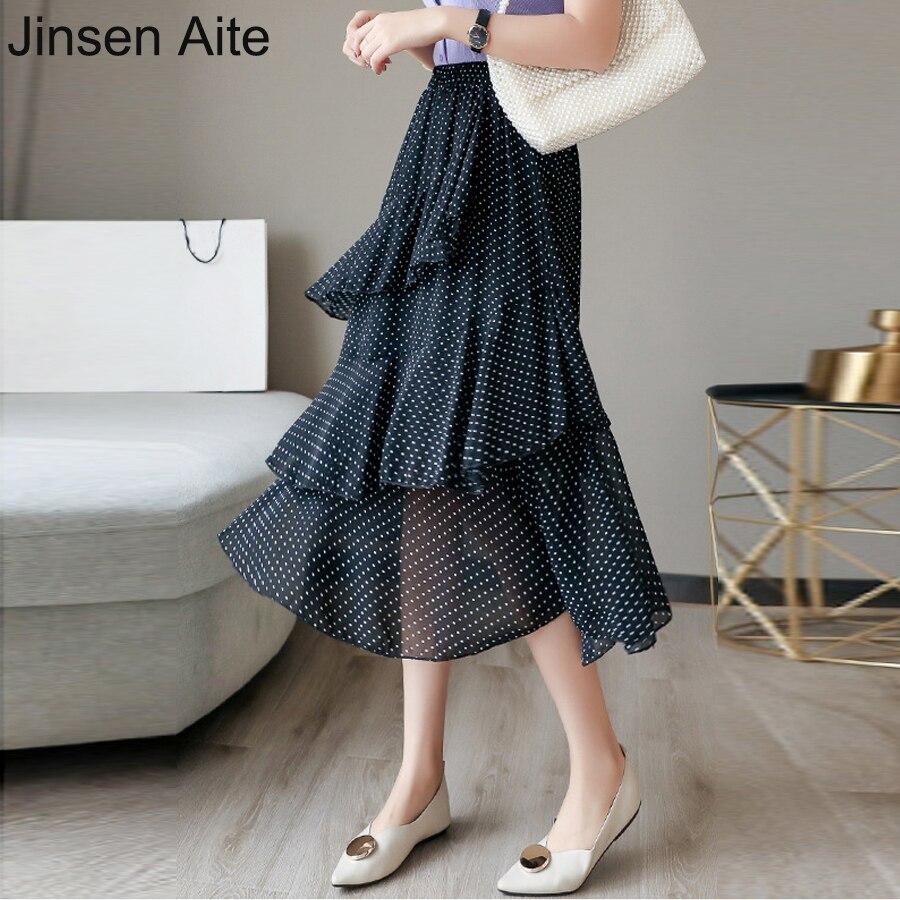 Jinsen Aite Plus Size 4XL Women Chiffon Skirt Dot Ruffles Maxi Skirts Beach Bohemian Skirts Vintage Elegant Faldas Saia JS491