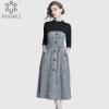 ROGREZ Grey Autumn Winter Casual Women Elegant Dress O Neck Half Sleeve Slash Slim Vestidos Office Long Dresses