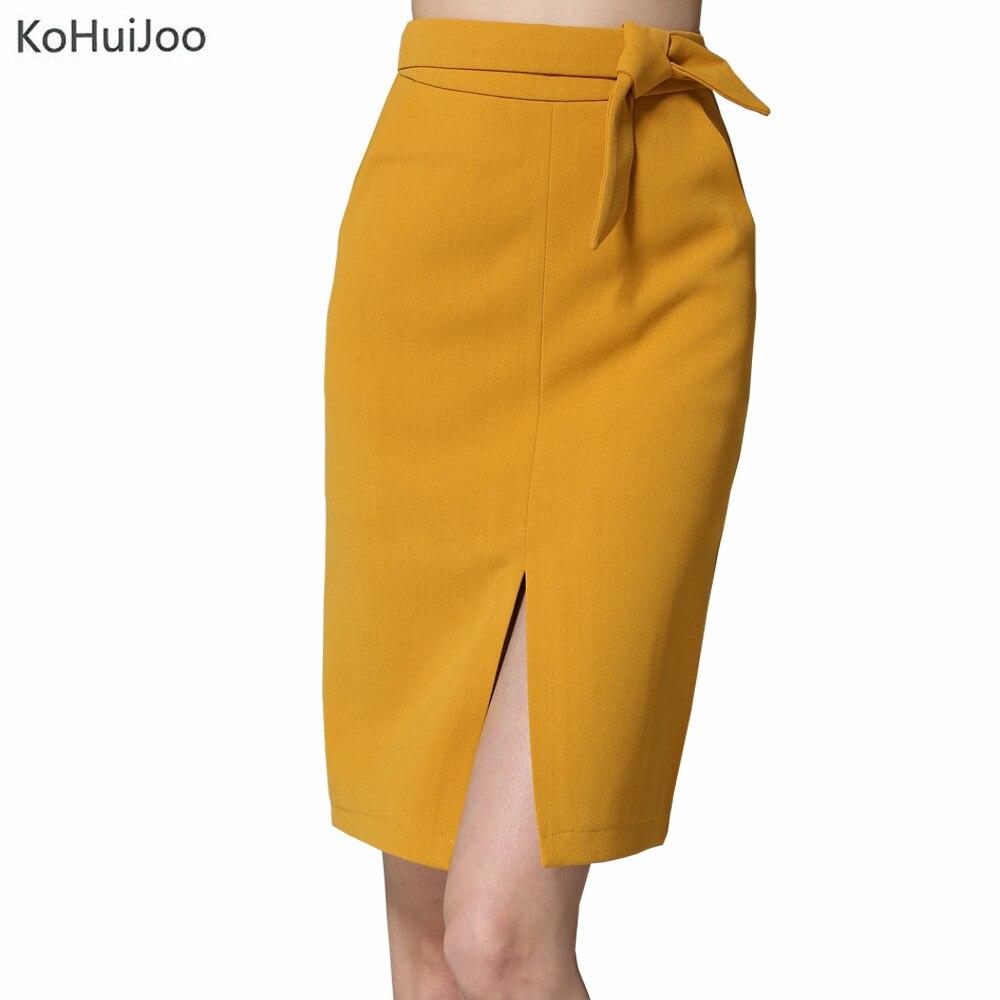 KoHuiJoo 19 Spring Autumn Women Big Bow Skirt Black Yellow Gray Solid Front Slit Skirts High Quality Slim Ladies Pencil Skirts 1