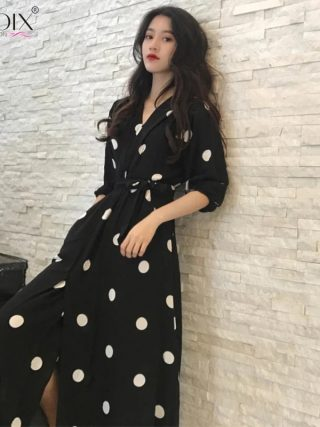 Half Sleeve Summer Women Dress Korean Style V-neck Ladies Evening Party Long Dress Vintage Elegant Dot Dress 19 robe femme