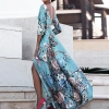 Women Boho Half Sleeve Backless Floral Dress Sexy Maxi Long Dress Party Beach Dress
