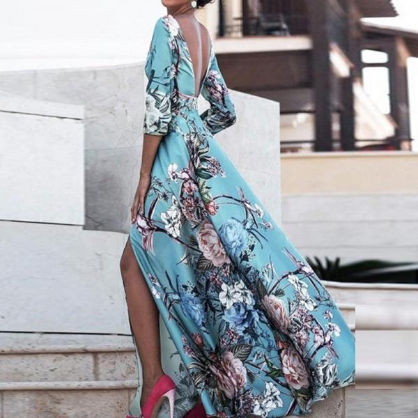 Women Boho Half Sleeve Backless Floral Dress Sexy Maxi Long Dress Party Beach Dress