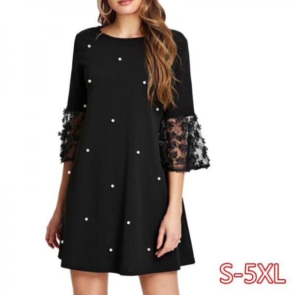 Spring Summer Women's Fashion Casual Loose Half Sleeve Elegant Dress O-Neck Polka Dot Plus Size 5XL Lace Dress vestidos