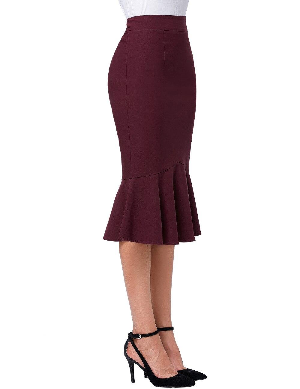 17 Skirts Faldas Women's Fashion OL Casual Mermaid Dark Wine Black Pencil Skirt Jupe Longue High Waist Sexy Long Skirt 2