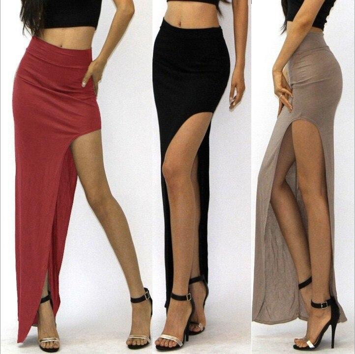 new 19 novelty Skirt Sexy Women Long Skirts Lady Empire Open Side Split Skirt high waist High Slit Long Maxi Skirts