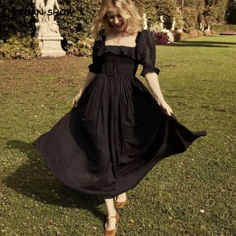 19 New Women French style 3D dot Spliced Ruffle Square Collar Maxi Long Swing Dress Black Backless Half Sleeve Dresses Vestido 1