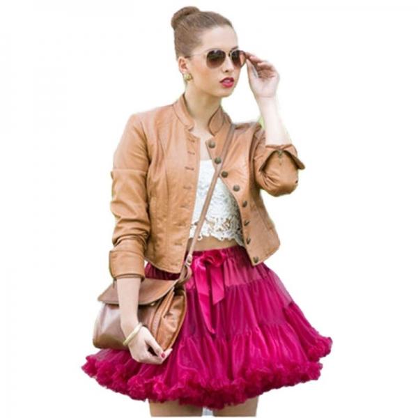 FOLOBE Adult Petticoat 2 layers Tulle 40cm Casual Skirts Tutu Skirt Women's Tutu Costume Ballet Dance Puffy Underskirts TT004