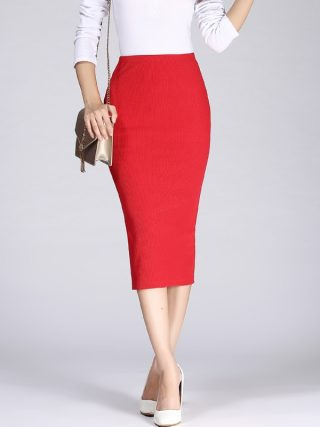 19 Spring Autumn Long Pencil Skirts Women Sexy Slim Package Hip Maxi Skirt Lady Winter Sexy Chic Wool Rib Knit midi Skirt Saia