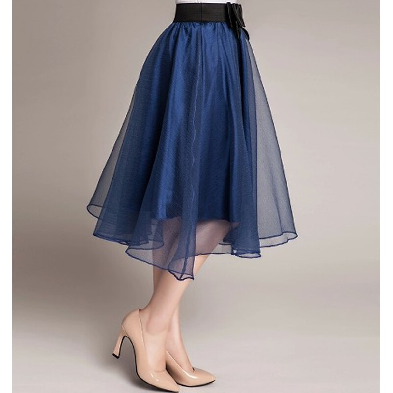 Hot sale 16 trend Summer Style Skirts bust Tulle Skirt Chiffon High Waist Tutu Skirts womens Mini Skirt Saias Femininas 2