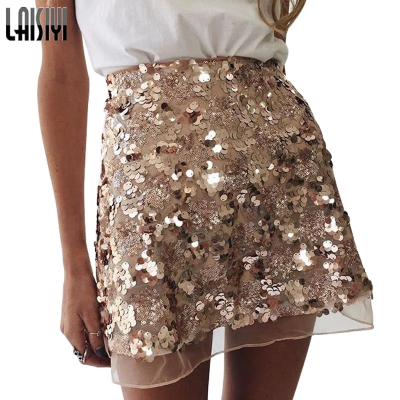 LAISIYI Gold Sequin Mesh Mini Skirts Womens Christmas High Waist Skirt Zipper Casual Short Party Beach Black Skirt ASSK005