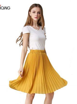 8 Colours Women Chiffon Pleated Skirt Vintage High Waist Tutu Skirts Womens Saia Midi Rokken 19 Summer Style Jupe Femme Skirt