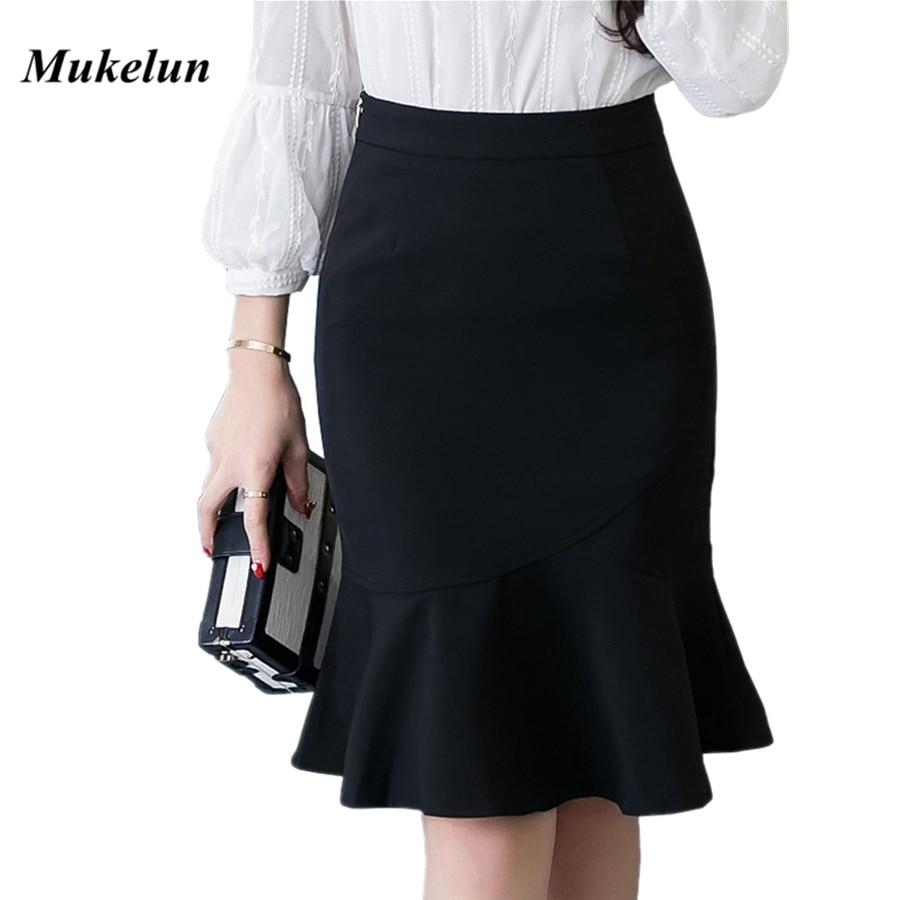 S-5XL 19 Women Pencil Skirt Fashion OL Slim Bodycon Business Wear Ruffles Hem Mermaid Style Plus Size Ladies Office Skirt 1