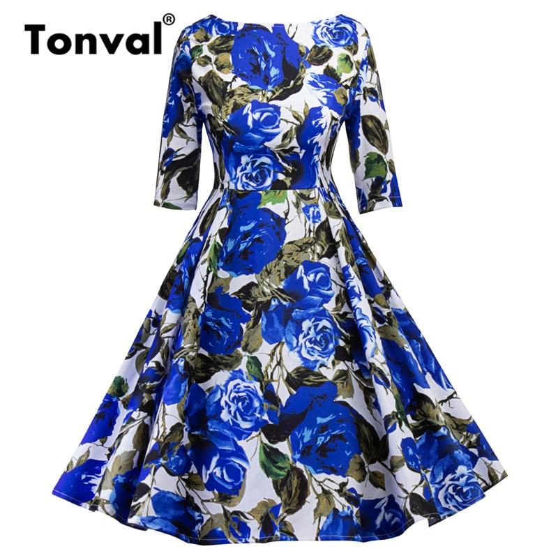 Tonval Blue Flower Print Retro Dress 18 Vintage Women Pleated Dress Summer Half Sleeve Party Backless Floral Dresses 1