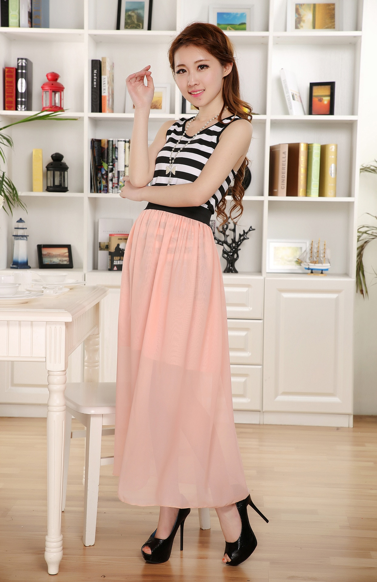 Free Shipping New Brand Designer Hot Sale Candy Colors High Quality Sexy Long Chiffon Skirt Pink Blue Black Red White Green C003 3