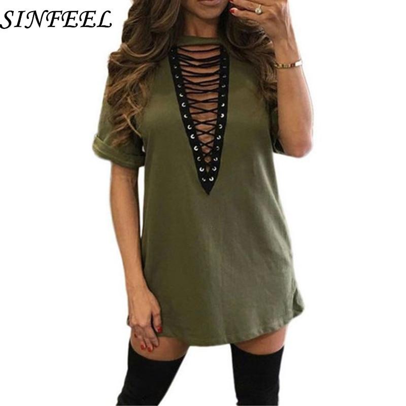 3xl 18 Summer Fashion Women Dress Half Sleeve Sexy Deep V-Neck Criss Bandage Party Dresses Mini T Shirts Dress Plus Size 1