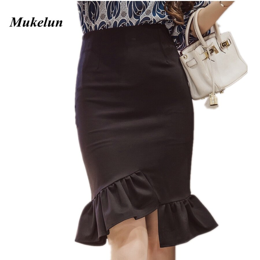 Womens Work Pencil Skirt Knee Length 19 Summer Sexy Elegant Ladies Plus Size Slim Formal Office Bodycon Printed Party Skirts
