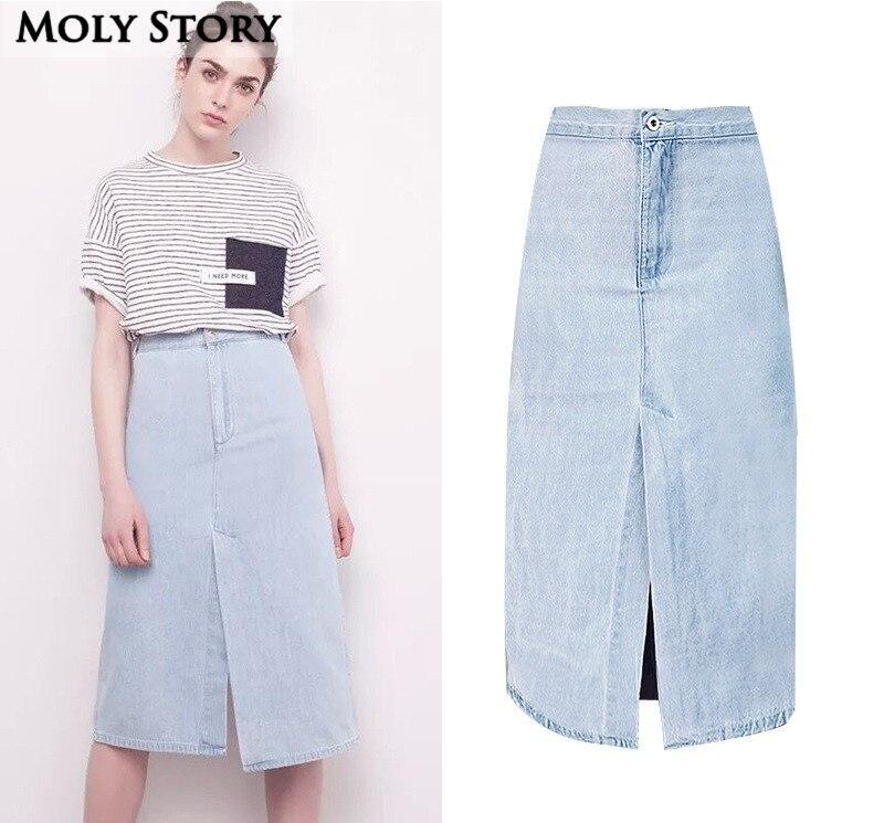Light Blue Washed Denim Skirt Cute Casual Front/Back Split High Waist Midi Skirts A Line Jean Skirt Jupe Femme