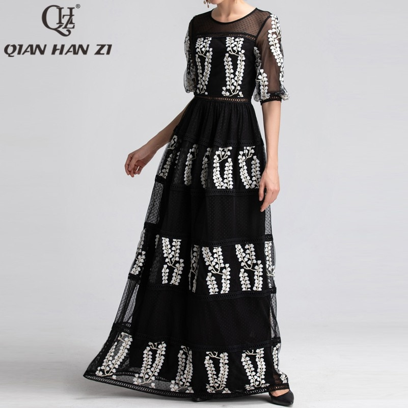 Qian Han Zi newest Designer Runway Maxi Dress Women Half Sleeve Mesh Embroidered Hollow Out Lace Vintage black party Long Dress 1
