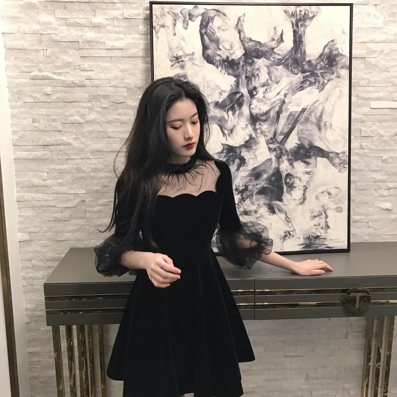 19 New Summer Dress Women Korea Chic Solid Black Ladies Mash Patchwork O-Neck Half Pull Sleeve Empire Vintage Fashion Dresses 2
