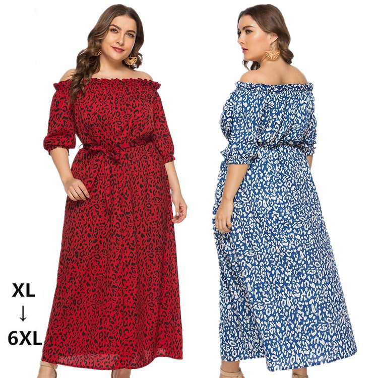 XL-6XL Plus Size Dress Women Long Beach Dress Fashion Slash Neck Half Sleeve Maxi Dresses Leopard Print Autumn Summer Vestidos 1