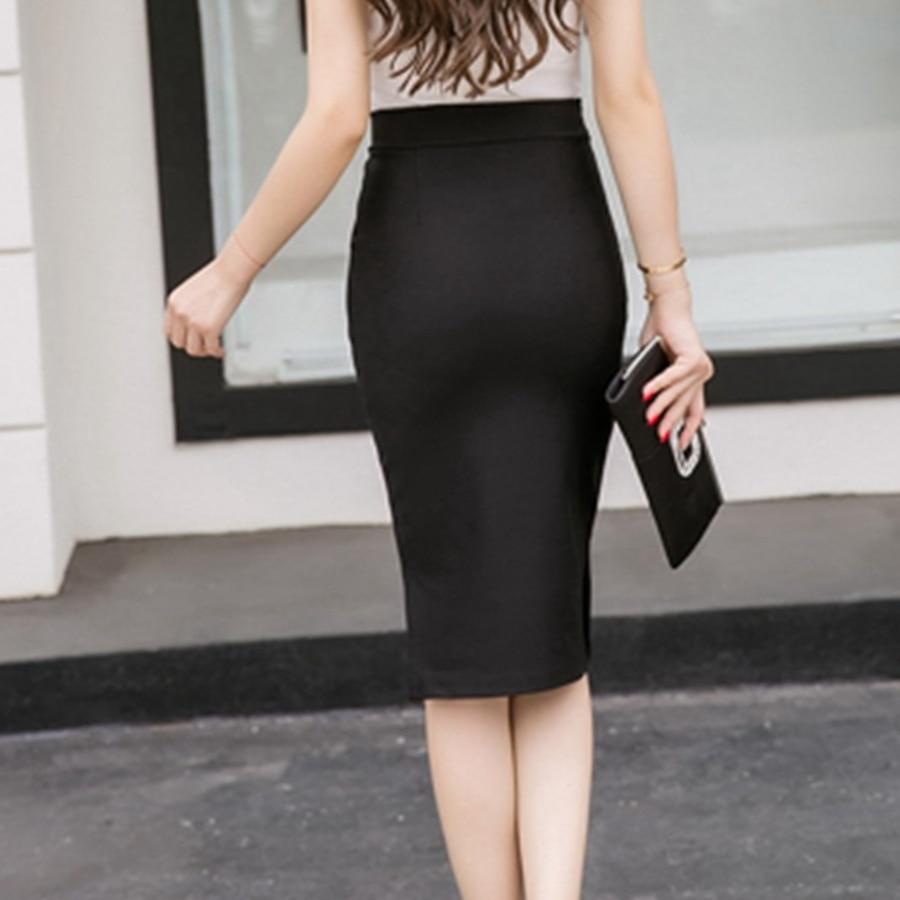 19 Sexy Women Work Skirt Slim Bodycon Summer High Waist Pockets Split Formal OL Office Ladies Black Plus Size Pencil Skirts 2