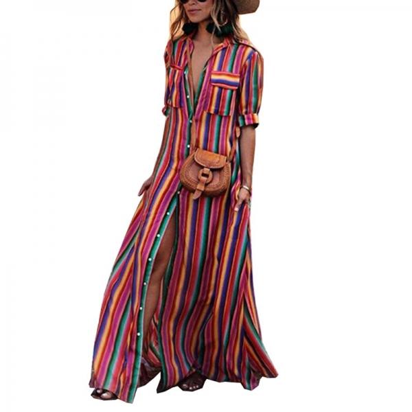 Women Long Maxi Dress Boho Half Sleeve Striped Dress Female Button Turn Down Collar Casual Dresses 18 Autumn Clothing