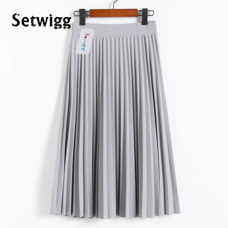 SETWIGG Spring Thick Chiffon Pleated Long Skirt Women Stretch Waist Grinding Pink Calf-length Pleated A-line Summer Skirt SG019 3
