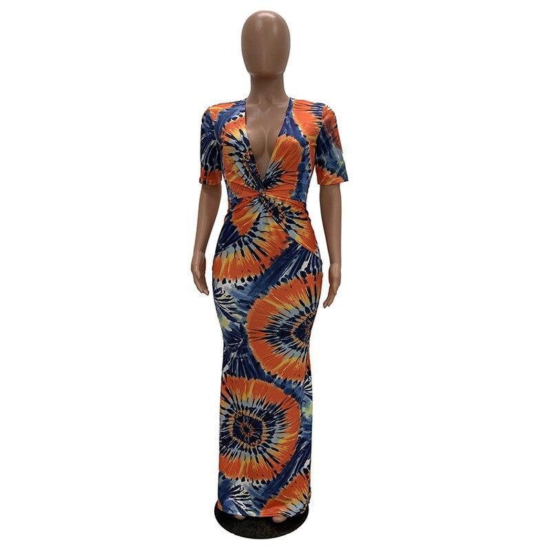Geometric Pattern Sexy Bohemian Dress Women Deep V Neck Half Sleeve Floor-Length Dress Vintage High Waist Slim Fit Beach Dress 3