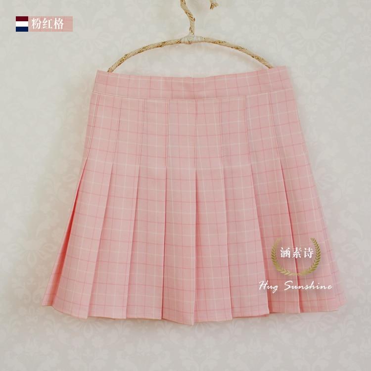 A-line Plaid pleated skirt Uniform high waist Skirt classical Gray&khaki&blue&pink lattice 2