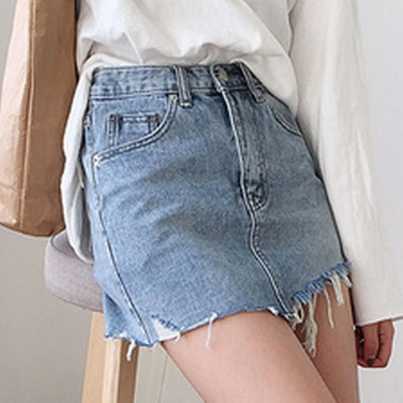 Summer Women's Skirt Short Sexy Denim Skirts Womens Irregular Brushed Hem Jean Mini Skirt Fashion Streetwear High Waist Skirt 3