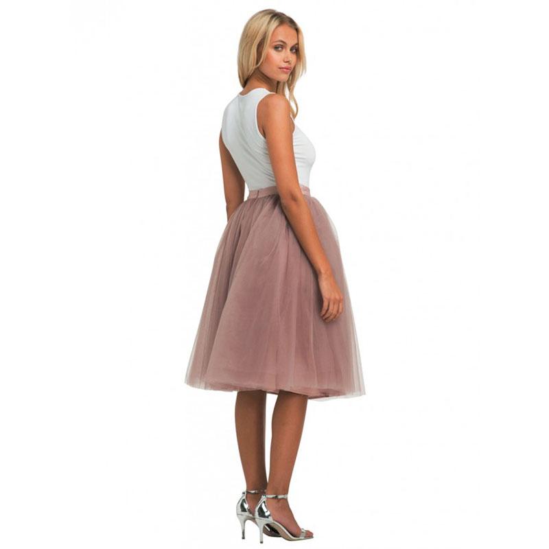 Isavannie Puffy 5 Layers Tulle Skirt Hidden Zipper Style High Waisted Midi Skirts Womens Pleated Skirt Faldas Saias Premium Sewn 2