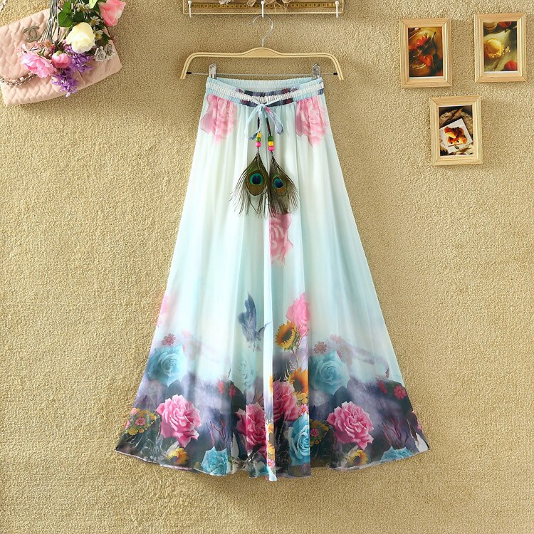 Uwback Max Skirt Women 18 New Summer Chiffon Skirts Woman Pleated Print Boho Elastic Waist Women Causal Saias Mujer TB1396 2
