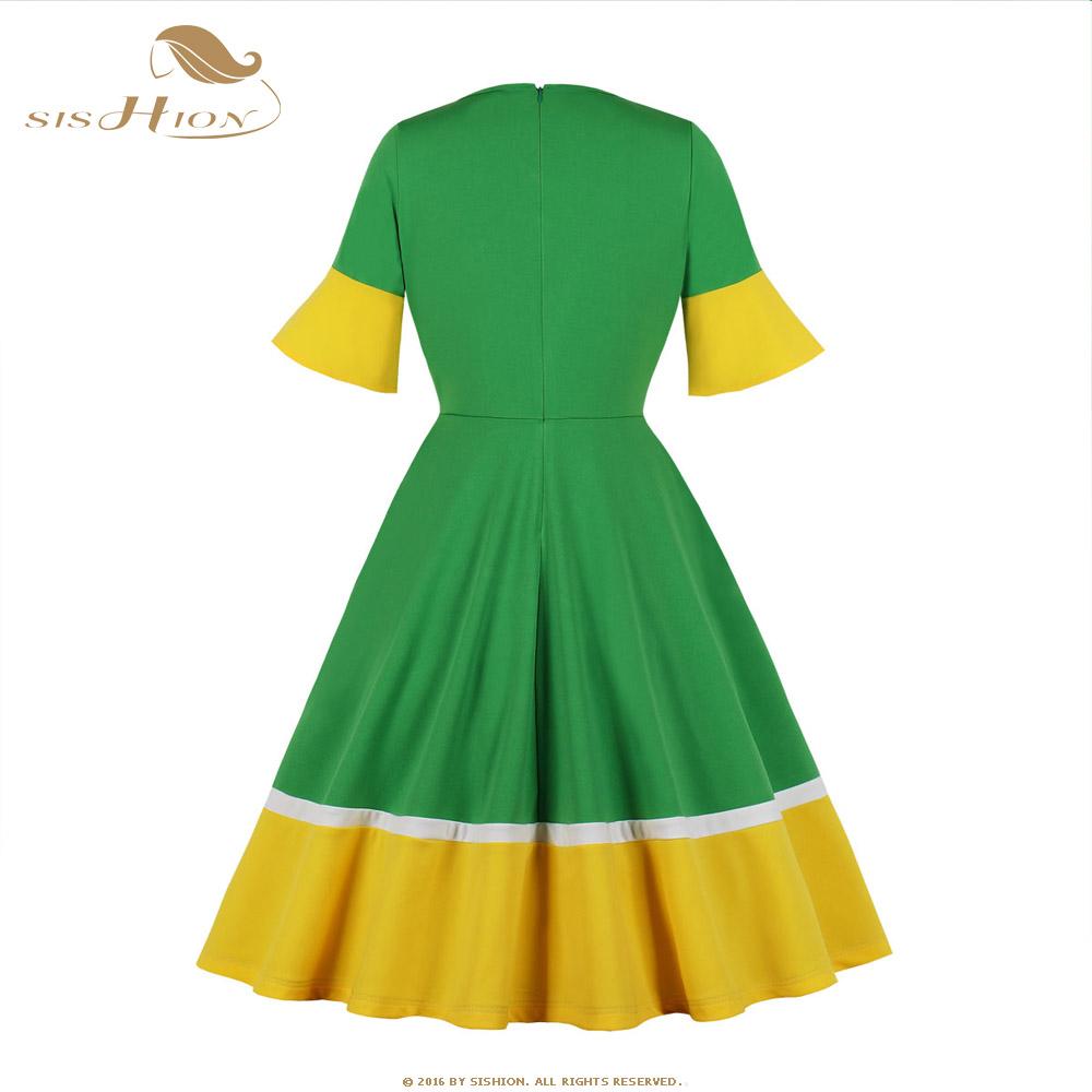 SISHION Half Sleeve Autumn Dress SP0584 Vintage Sexy V Neck New Year Women Ladies Green Christmas Dress 2