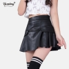19 Autumn Vintage Women Fashion Korean Sexy Pleated Skirt High Waist Black Red PU Leather Skirts Vintage Short Mini Skirts