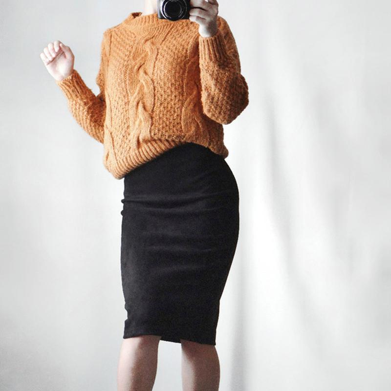 Neophil 19 Winter Women Suede Midi Pencil Skirt High Waist Gray Pink XXL Sexy Style Stretch Wrap Ladies Office Work Saia S1009 3