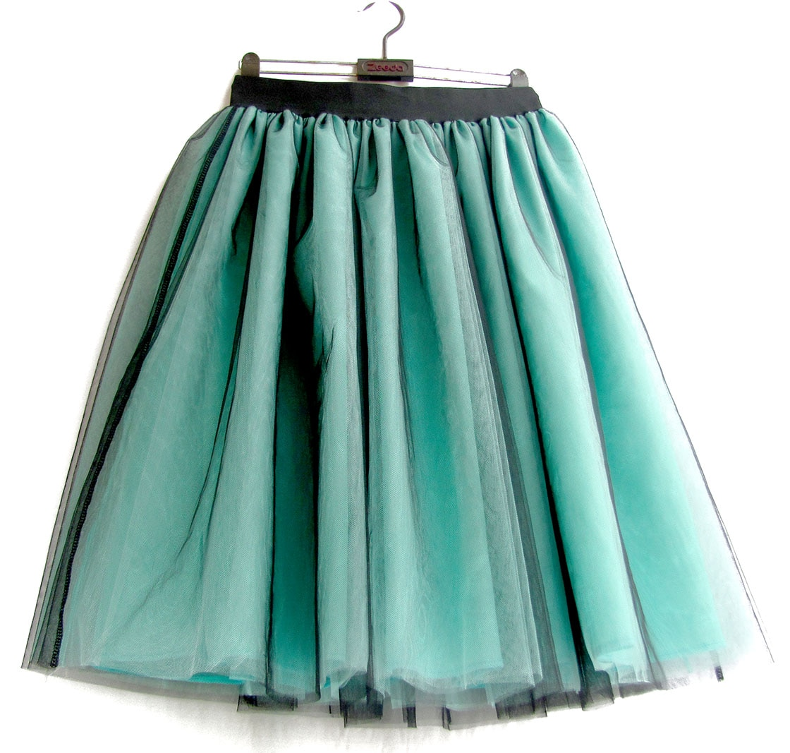 Green Tulle Skirt Womens Ball gown Lace Casual Empire 6 layers Black Fashion Skirt Long Autumn Tutu Skirts Summer Custom made 2