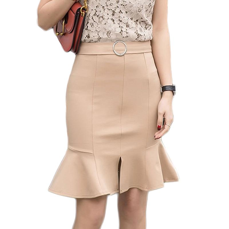 Autumn Elegant Ladies Office Lady Skirt Fashion High Waist Tight Skirt Mermaid Bodycon Sexy Package Hip Ruffle Skirt Feminine 1