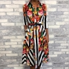 19 Women Summer Elegant OL Workwear Formal Gown Midi Party Dress Stylish Floral & Striped Print Half Sleeve Shirt Dress