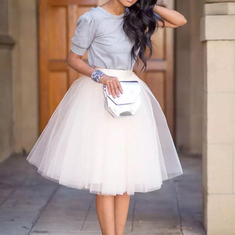 Party Train Puffy 5Layer 60CM Fashion Women Tulle Skirt Tutu Wedding Bridal Bridesmaid Overskirt Petticoat Lolita Saia 19 2