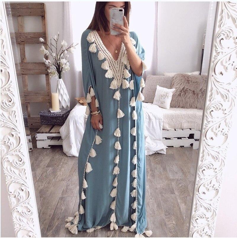 Plus size bohemian half sleeve maxi dress Women casual loose tassels dress Summer 19 straight long dresses robe femme 1