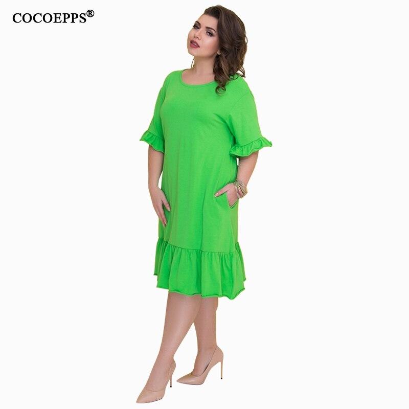 COCOEPSS 19 Plus Size Casual Loose Dress Big Size Women Dress Summer Half Sleeve Dress Ruffles Elegant Party Large Size Dress 2