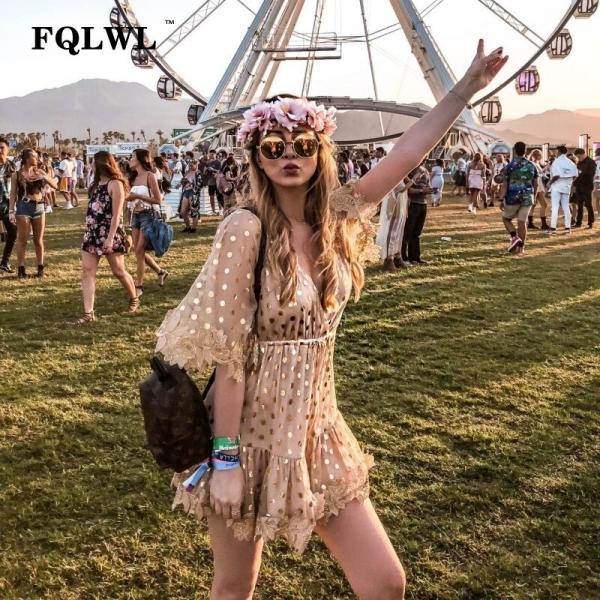 FQLWL Patchwork Embroidery Polka Dots Sexy Mesh Dress Women Gold Half Sleeve Loose Party Mini Dresses Summer Beach Dress Elegant