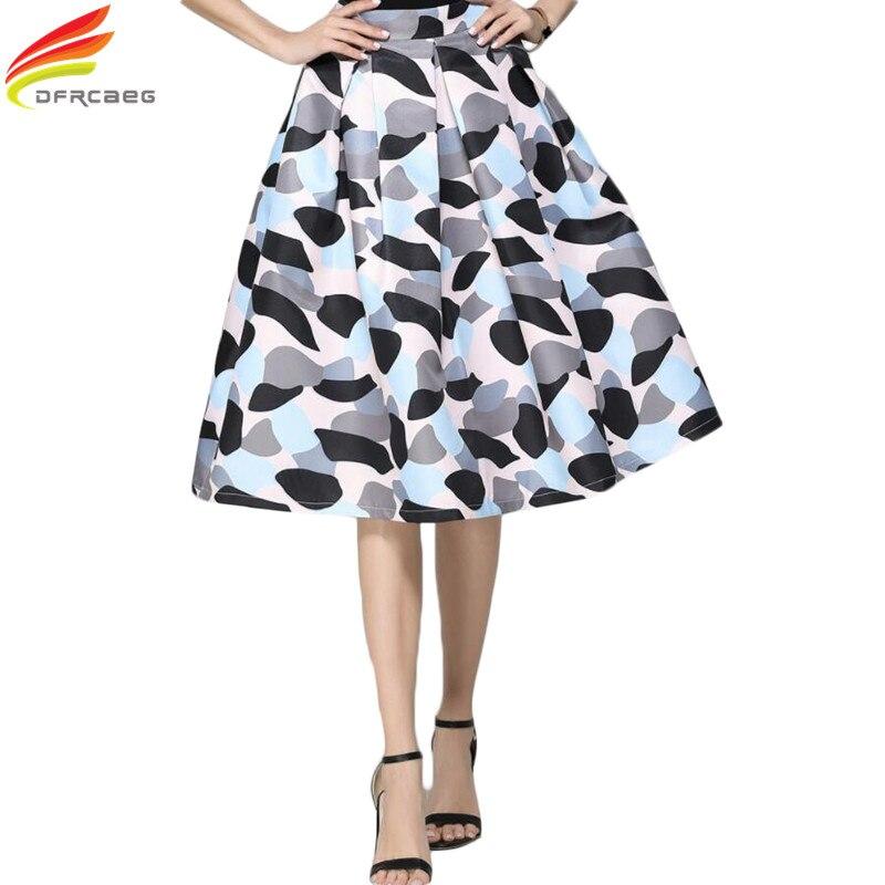Midi Skirt Womens 18 Autumn Elegant Fashion Vintage Skirts High Waist Print Patchwork Jupe Femme Pleated Ladies Faldas Mujer