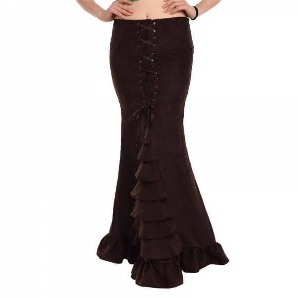 Women Mermaid Skirt Vintage Victorian Slim Maxi Long Lace Up Ruffles Fishtail Style Corset Skirts